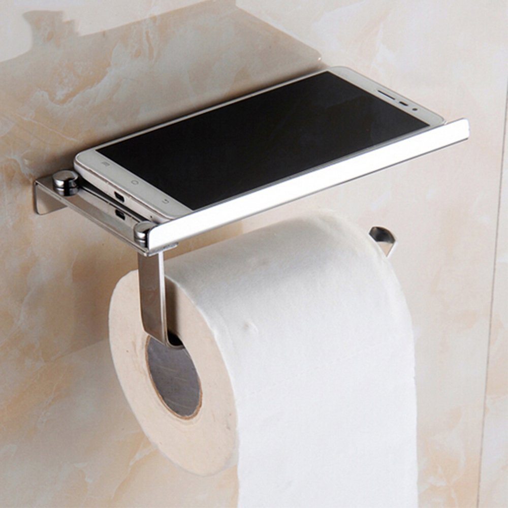 Toilet Paper Roll Holder Stainless Steel Wall Mounted Bathroom Tissue Storage with Phone Holder Shelf Stand