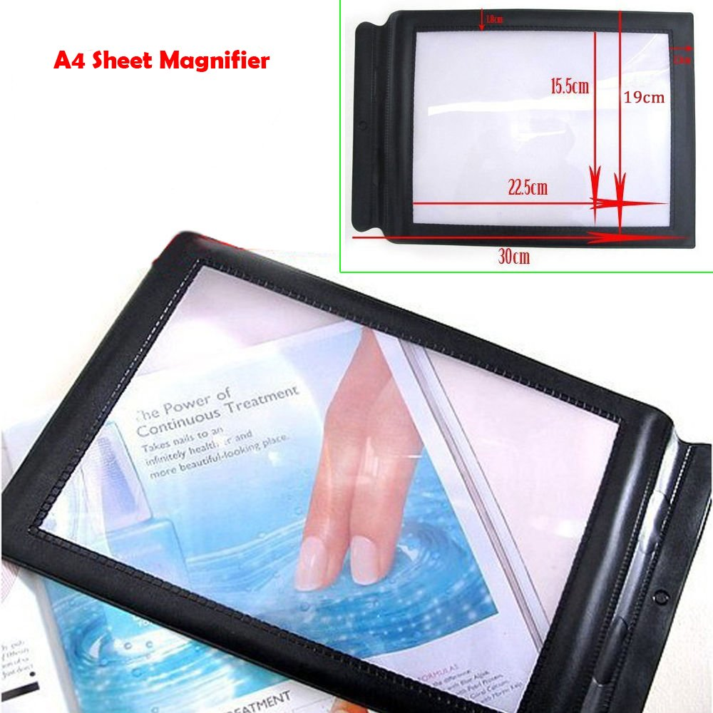 zinnor 3X A4 Sheet Full Page Reading Magnifier Large Magnifying Glass Reading Aid Lens Fresnel for Books Menus Newspapper Improve Elderly Poor Eyesight for The Eldly Gift