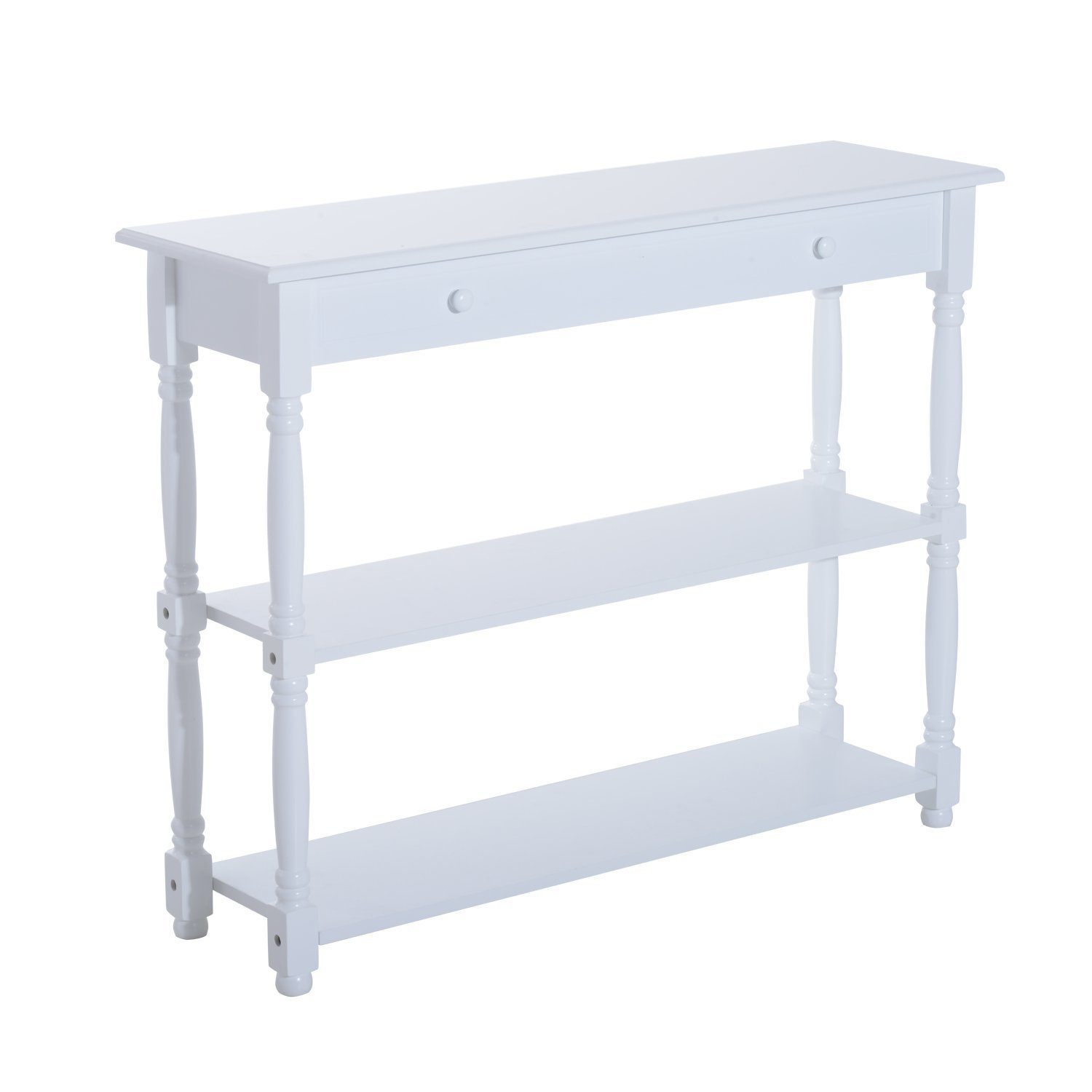 """HomCom 40"""" Pine Wood Entryway Console Table (White)"""