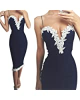 Mosunx Slim Womens Sexy Bodycon V Neck Floral Lace Evening Party Ladies Long Dress