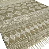 Eyes of India 4 X 6 ft Green Cotton Block Print Area Accent Dhurrie Rug Flat Weave Hand Woven