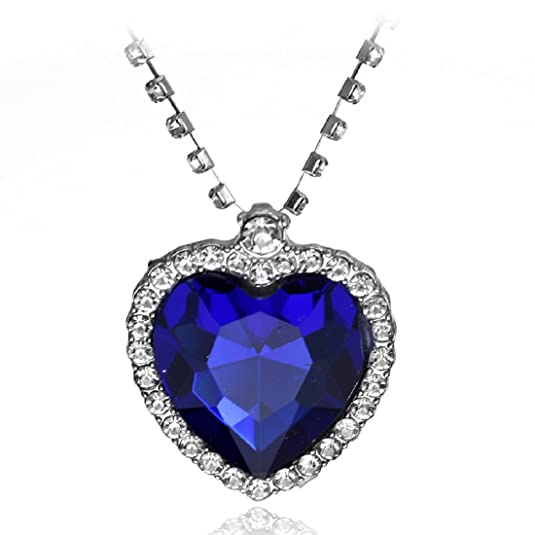 Vintage Style Jewelry, Retro Jewelry Titanic Blue Heart Of Ocean Crystal Costume Necklace Pendant $7.94 AT vintagedancer.com
