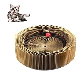 petacc rascador de gato cama alta densidad Pet arañazos salón reciclado cama de gato con pelota de juguete de cartón y Catnip, 19,7 cm de diámetro: ...