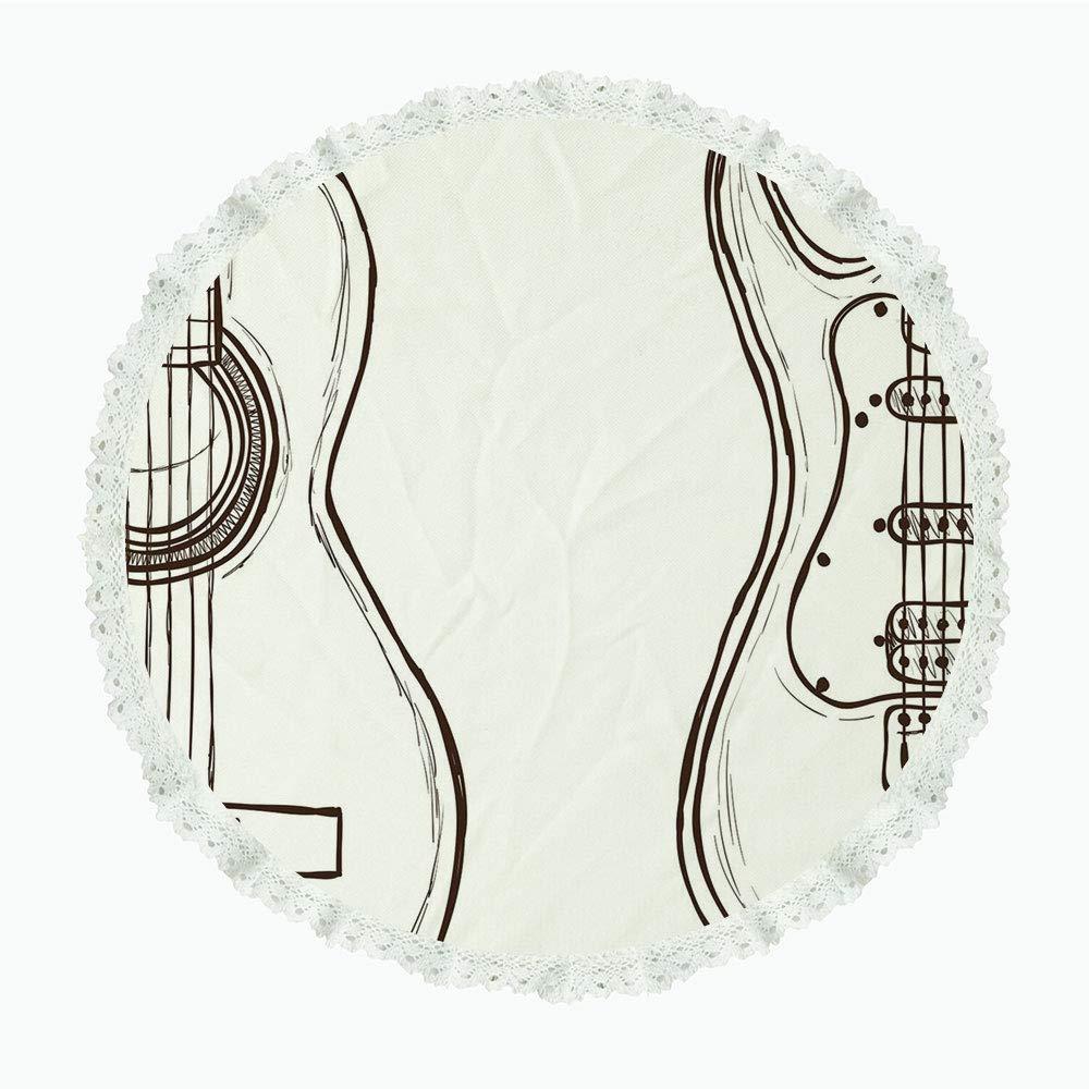 iPrint 36インチ ラウンド ポリエステル リネン テーブルクロス ギター 楽器の抽象的シルエット グランジー カラー スプラッシュ付き メロディの装飾 マルチカラー ディナーキッチン ホームデコレーション用 Round 60