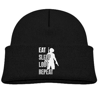 OETUU Eat Sleep Loot repeat pubg Beanie Cap Knit Cap Woolen Hat For Boys  and Girls 4946713276a