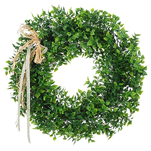 16 Inches Boxwood Wreath Artificial Green Leaf Wreath with Bow Flowers Arrangements Front Door Hanging Wall Window Decoration Holiday Festival Wedding Decor -