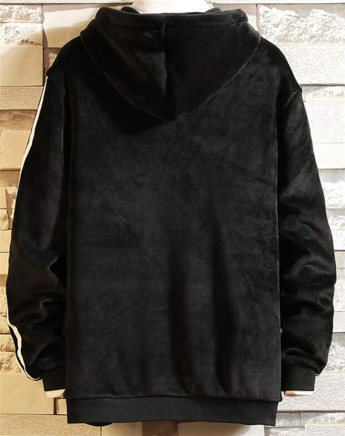 Hilization Mens Casual Hooded Striped Drawstring Fleece Lined Velvet Warm Kangaroo Pocket Pullover Hoodie Sweatshirt