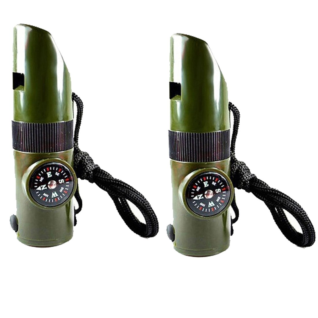 7 in1 Multifunction Camping Survival Compass with Whistle Thermometer Magnifier LED Flashlight Fire 2 PCS