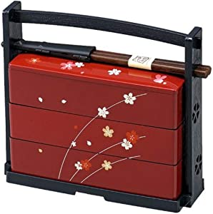 JapanBargain 1950, Japanese Lunch Bento Box Three Tiers with Chopsticks Traditional Plastic Lacquered Sakura Cherry Blossom Pattern Made in Japan