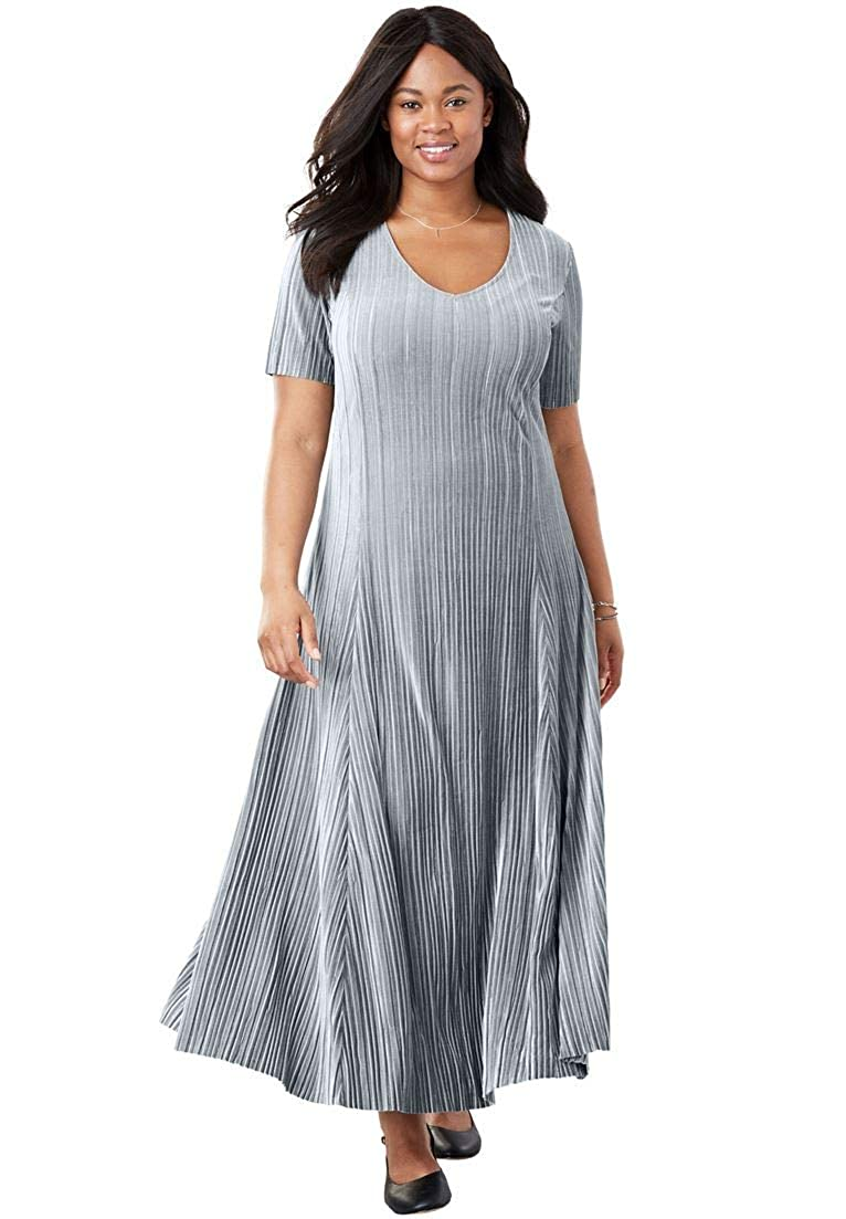 3dee286cd8b Woman Within Plus Size Pleated Velour Dress - Gunmetal
