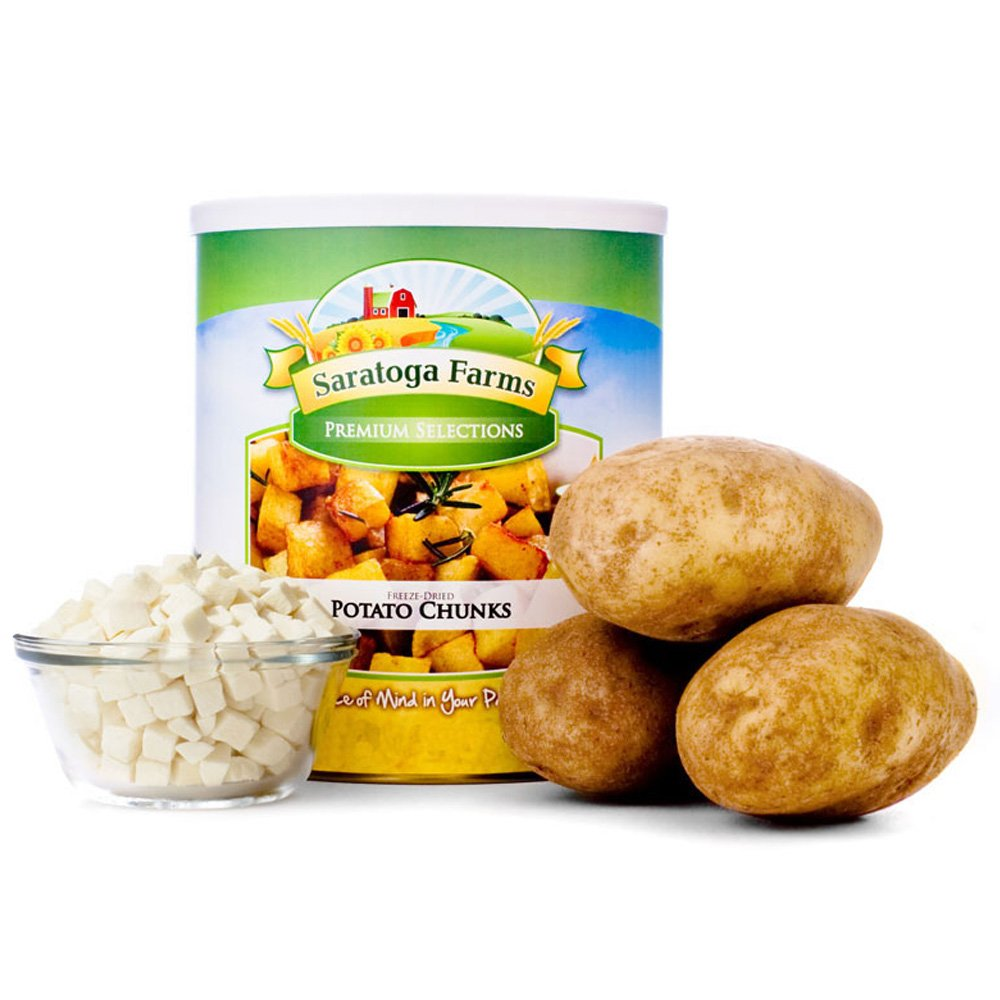 Saratoga Farms Freeze Dried Potato Chunks, #10 Can, 14oz (394g), 25 Total Servings, Food Storage, Every Day Use, Camping Food