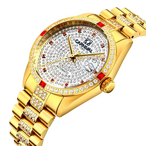 Luxury Men Automatic Mechanical Business Calendar Stainless Steel Military Rhinestone Waterproof Watch (Gold) by Fanmis (Image #2)