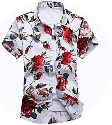 Camisa de Verano para Hombre, Manga Corta, diseño Floral, Tallas M a 7XL - - X-Large: Amazon.es: Ropa y accesorios