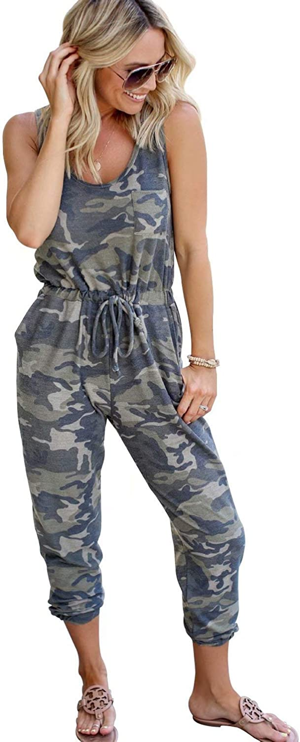 N-A Womens Camouflage Romper Elastic Waist Overalls Casual Sleeveless Jumpsuit Loose Long Playsuit