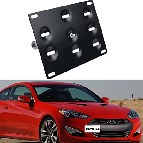 Car Front Bumper Tow Hook License Plate Dual adaptor Mounting Bracket Holder Kit