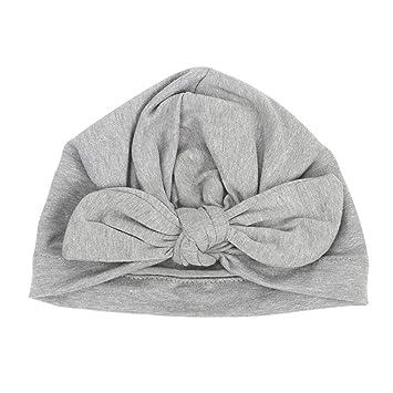 Baby Hat para Bebe Recién Nacido de Algodón Suave, Turbante Infantil Niño Nudos Diadema,Gorro Elegante (1-2 Anos) / Gris