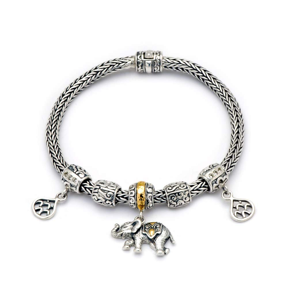 Deni Jewelry 18Kt Yellow Gold and Sterling Silver 925 Bracelet with Dragon Bone Chain Width 4mm for Women Gift, Elephant Bead and White Topaz Stone Pave Setting, Size 7.5'', Handmade Jewelry