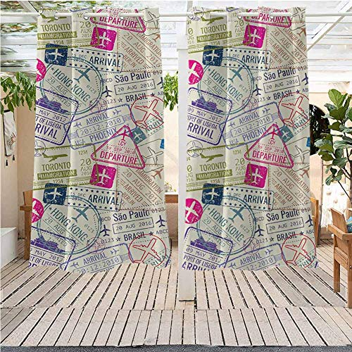DONEECKL Travel Custom Outdoor Curtain Passport and Visa Stamps Illustration of Toronto Hong Kong Berlin Print Waterproof Patio Door Panel W63 x L72 inch Egg Shell and Pink (End Toronto Furniture High Outdoor)