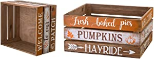 Glitzhome Wooden Crate Rustic Nesting Wooden Crates Set of 2 Fall Decorative Storage Gift Wood Crates for Display Farmhouse Wooden Storage Boxes for Harvest Thanksgiving Halloween