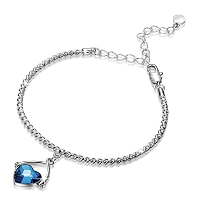 c97fef5b18dcc J.NINA Heart Jewelry Set with Denim Blue Swarovski Crystals -Swing of Love-  Women Pendant Necklace & Bangle Bracelet Ideal Gifts for Herr