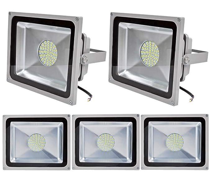 ALPHA DIMA 5pcs 50W LED Foco Proyector,SMD LED Reflector Industrial para Exteriores,Resistente al agua IP65,6000-6500K Blanco Frío,Foco para ...