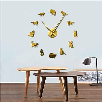 Djkaa Sin Marco Gatos Silueta Arte De La Pared Reloj Reloj Gatitos 3D DIY Reloj De