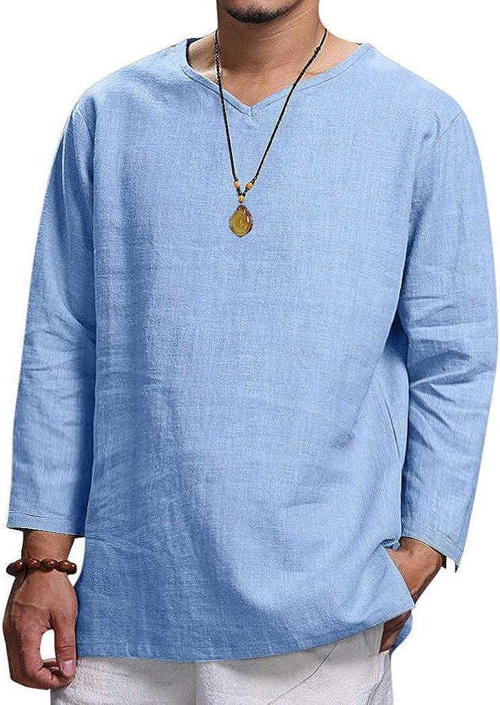 Camisas Hombre Lino Verano y Otoño Camisetas Manga Larga Color Sólido Escote V Tops Shirt Tallas Grandes Polos Modernas Sudadera Deporte Talla Grande M-4XL
