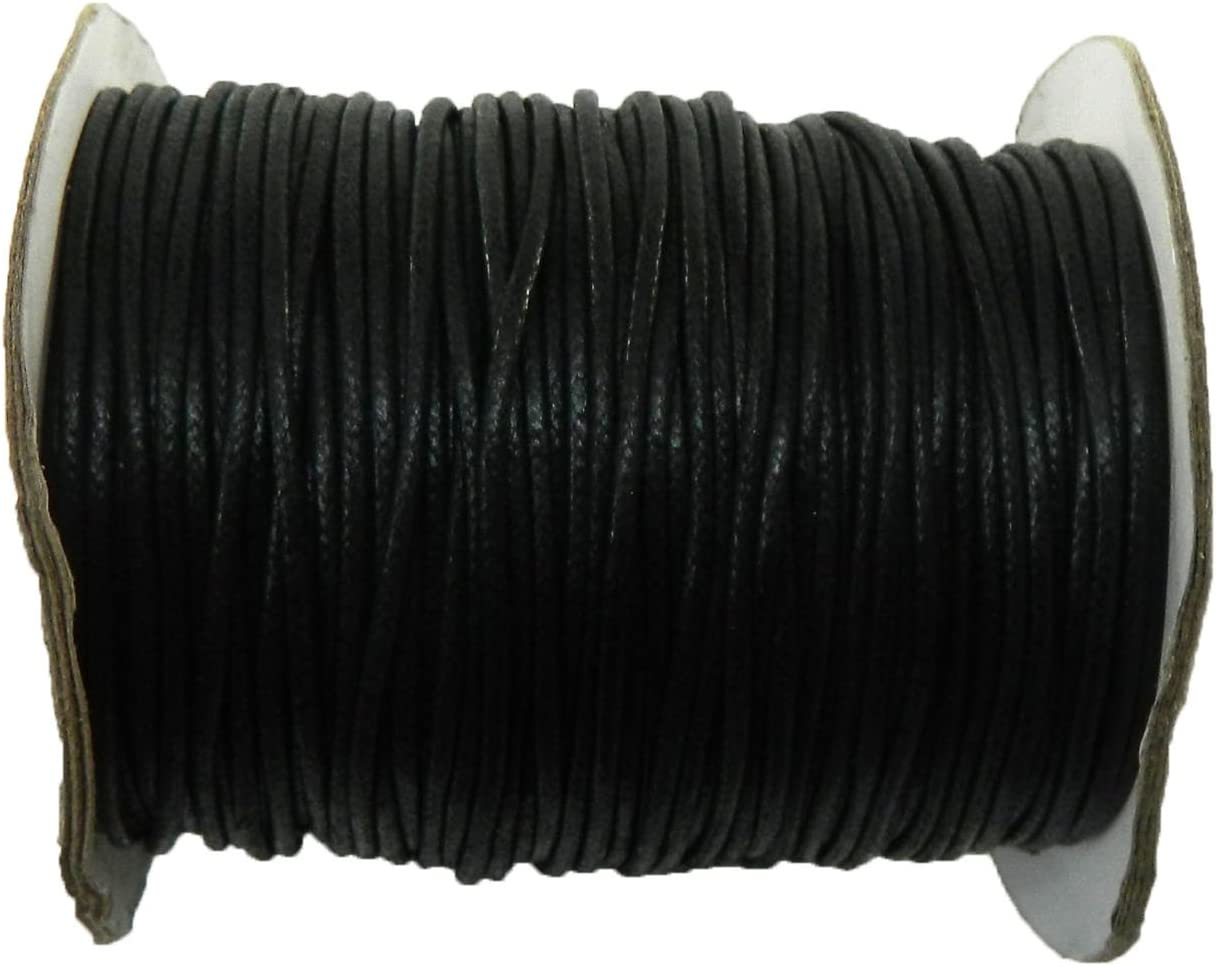 Rockin Beads Brand Black 1.5mm Waxed Cotton Jewelry Macrame Craft Cord 80...