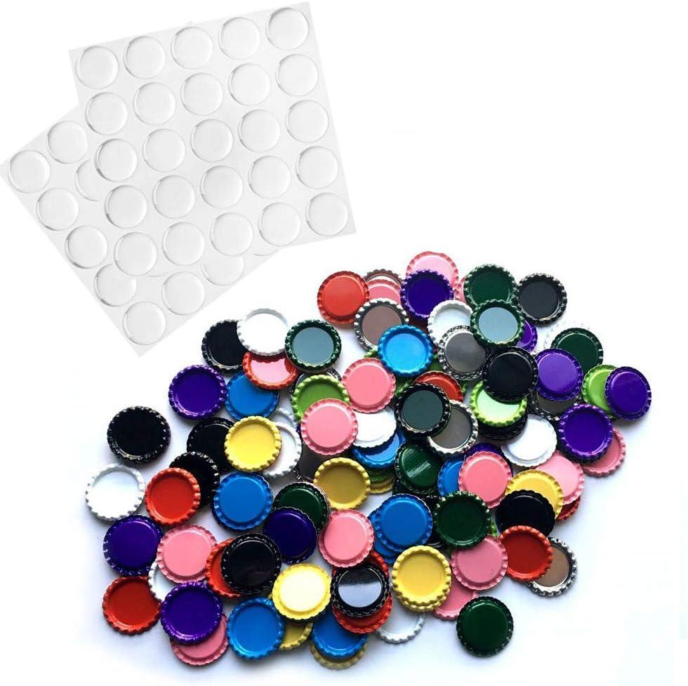 RUTICH 100 Flat Decorative Bottle Cap Mixed Colors(10colors) 100 Pieces Clear Epoxy Dot Stickers Hair Bows, DIY Pendants Craft ScraPbooks