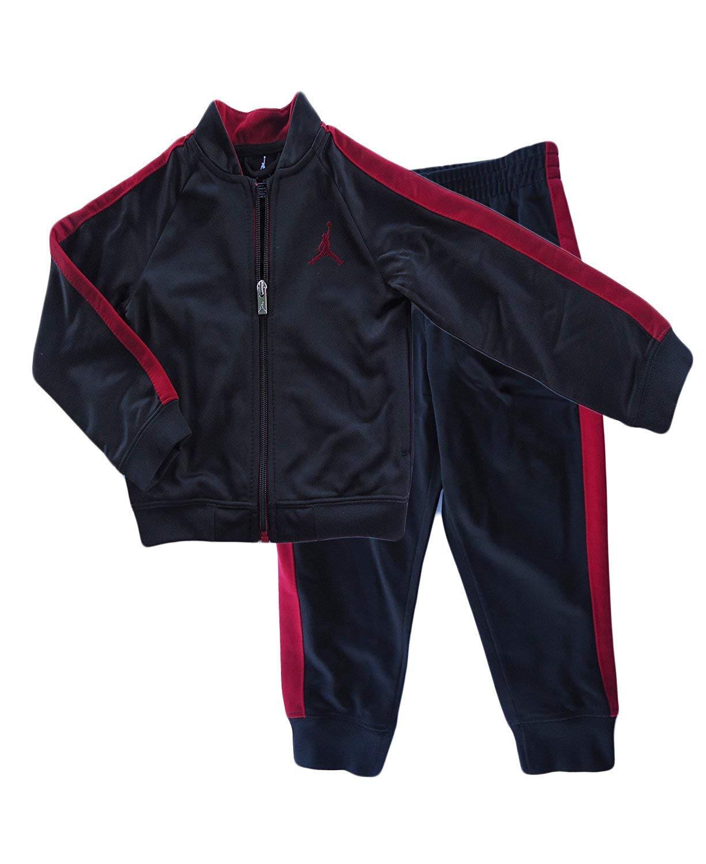 Nike Air Jordan Toddlers Tricot Tracksuit Jacket & Pants Set (Black, 2T)