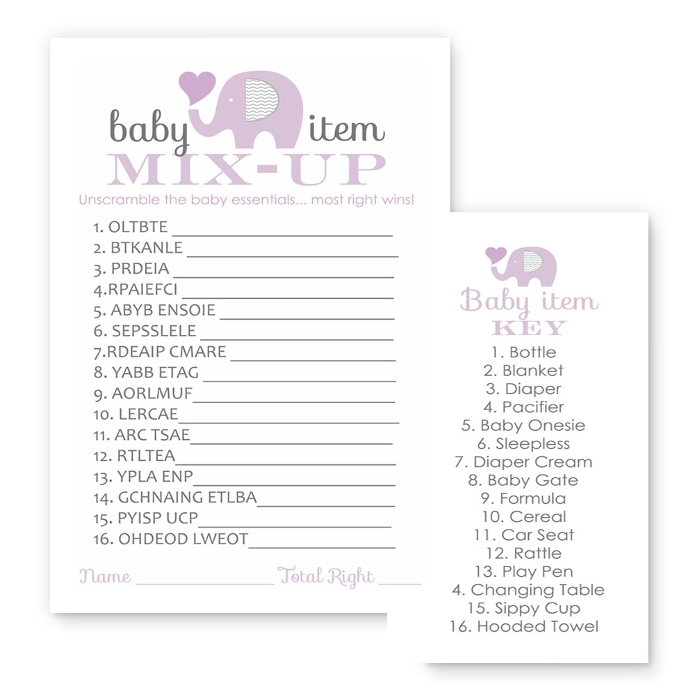 Purple Elephant Baby Shower Game Cards - Word Scramble (25 Pack)