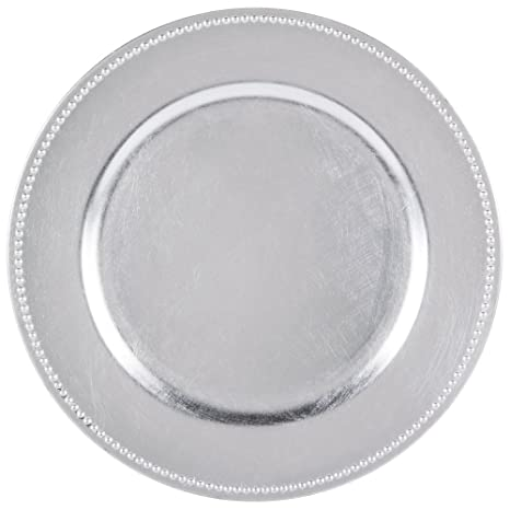 Round Charger Beaded Dinner Plates Silver 13 inch Set of 12  sc 1 st  Amazon.com & Amazon.com | Round Charger Beaded Dinner Plates Silver 13 inch Set ...