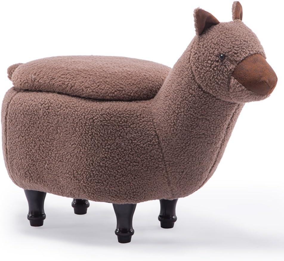 D&L Cartoon Animal Alpaca Storage Stool, Ottoman Creative Cute Footstool For Kids 4 Legs Coral Fleece Cover Storage Box-brown L68xW34xH53cm