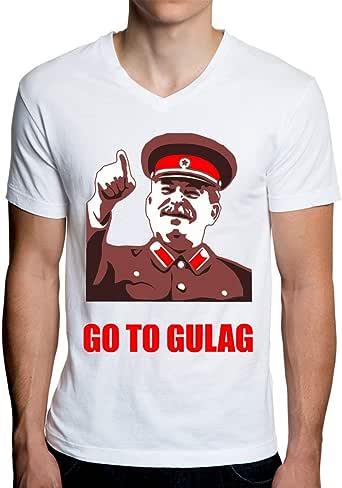 ShutUp Co. Go to Gulag Meme Camiseta con Cuello de Pico para Hombre: Amazon.es: Ropa y accesorios