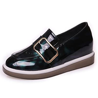 CHNHIRA Womens Casual Wedge Heel Leather Loafers Shoes