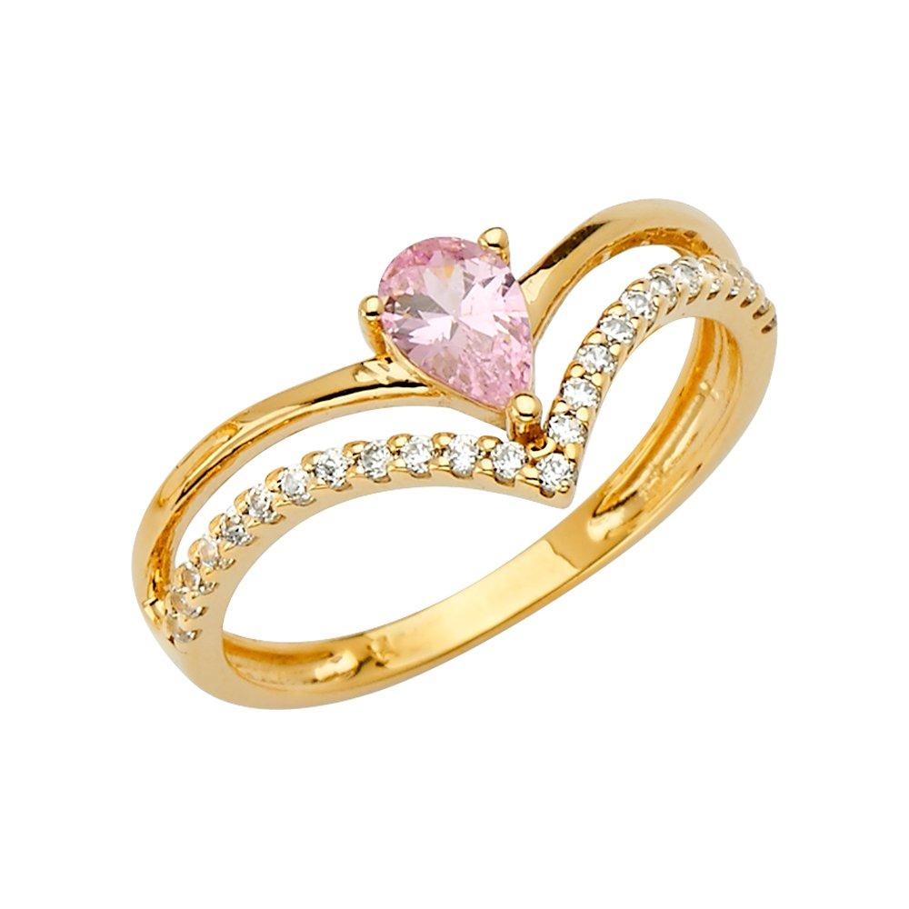 14K Solid Yellow Gold Channel Set Pear Cut Birthstone CZ Two Line V Shape Anniversary Ring Ioka