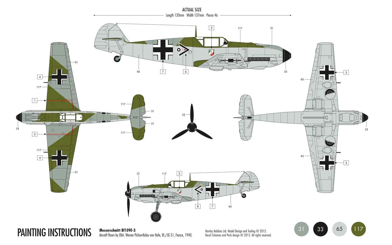 Airfix 1:72 Messerschmitt Bf109E-3 Starter Set (A55106)