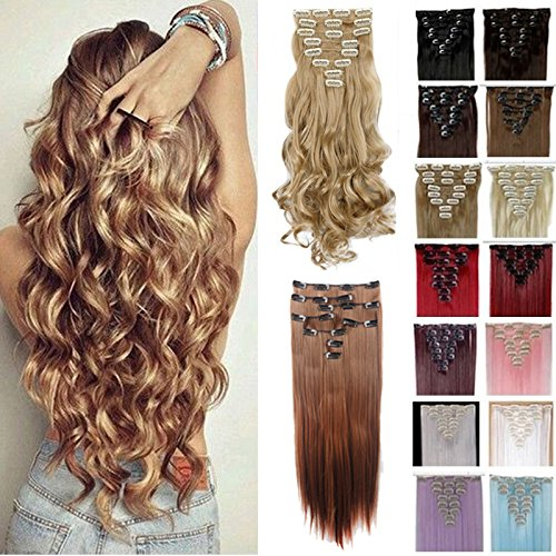 FIRSTLIKE 17-26 Clip In Hair Extensions Thick Full Head Long Straight Curly Wavy 8 Pieces 18 Clips Black Brown Blonde Colorful Ombre Soft Silky For Women Beauty