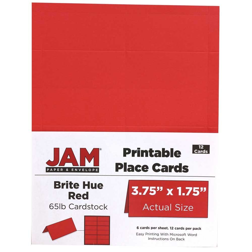 amazoncom jam paper printable placecards 3 34 x 1 34 white 12pack home kitchen