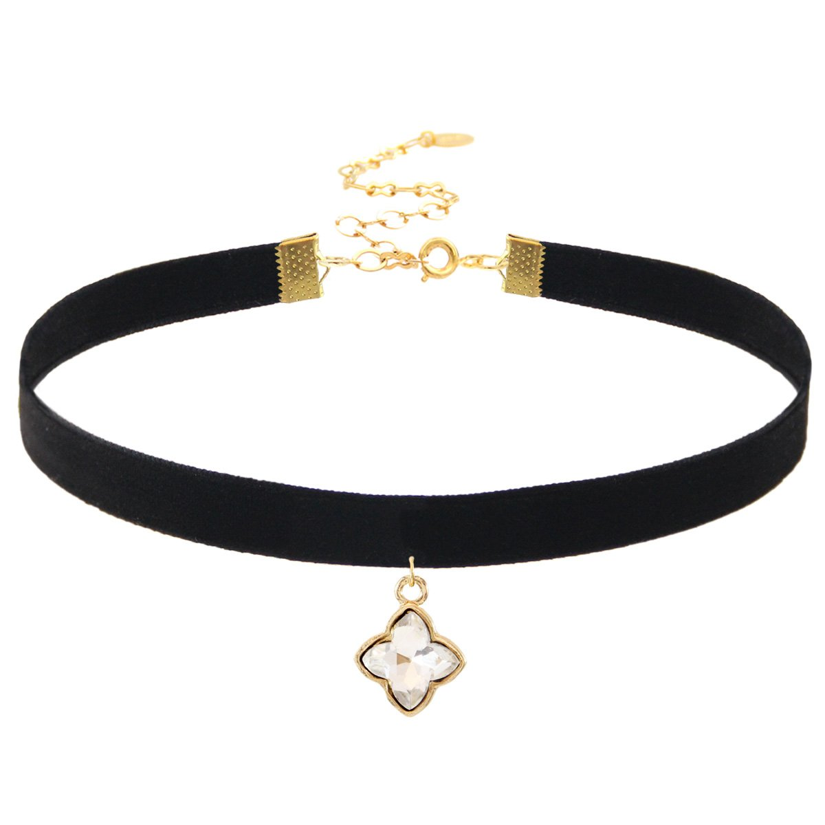 18K Gold Plated Closure.Length: 11 with 4 extender Width: 10mm Choker Necklace Clover Pendant on Black Velvet Ribbon Choker Pendant Size: 12x20 mm.