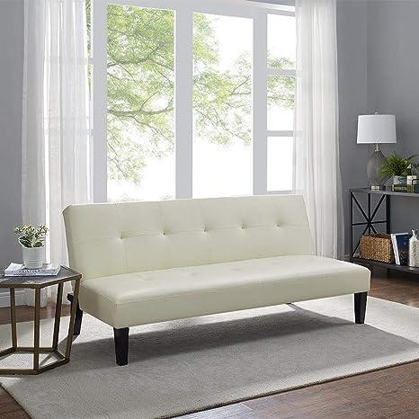 Naomi Home Button Tufted Futon Sofa Bed Cream
