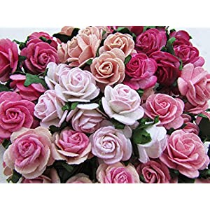60 pcs Rose 20mm Pink Mulberry Paper Flowers handmade craft project cardmaking Floral Valentine 74