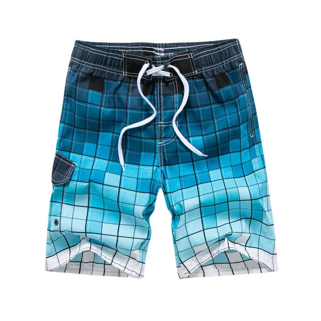 Alangbudu Gradient Lattice Swimsuit Slim Fit Swim Trunks Elastic Waist Drawstring Board Short Athletic Durable Training