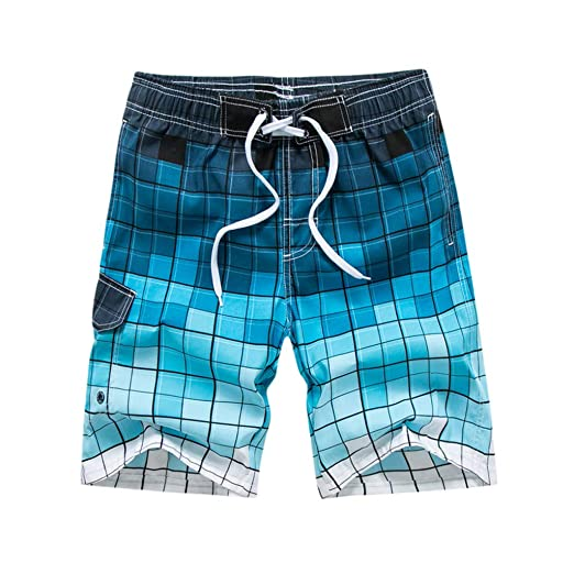 c8300ee2183 NUWFOR Men s Fashion Casual Printing Patchwork Beach Surfing Swimming Loose  Short Pants M Waist 29.9