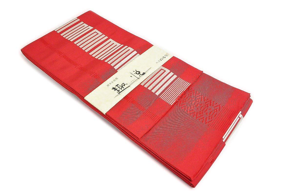 本場筑前博多織 西村織物 博多帯 赤色地に銀色で源氏香 小袋帯 献上柄 B0765QP2RC