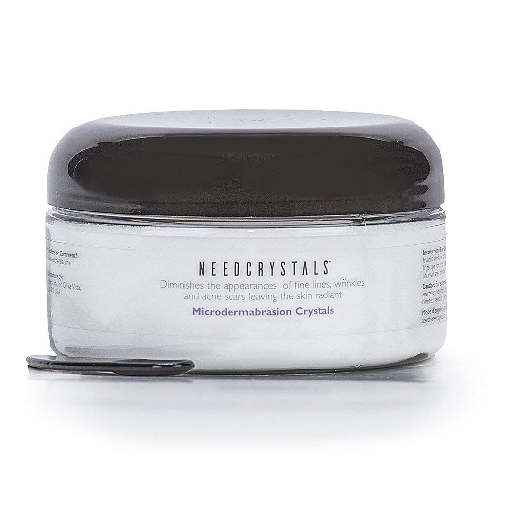 NeedCrystals Microdermabrasion Crystals, DIY Face Scrub. Natural Facial Exfoliator for Dull or Dry Skin Improves Acne Scars, Blackheads, Pore Size, Wrinkles, Blemishes & Skin Texture. 16 Ounce