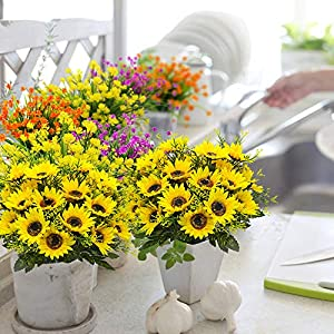 Grunyia Artificial Flowers Fake Sunflowers, 4PCS Faux Silk Flowers Floral Table Centerpieces Arrangements Home Kitchen Office Windowsill Hanging Spring Decorations 3