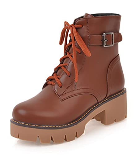 SHOWHOW Damen Martin Boots Kurzschaft Stiefel Mit Absatz Braun 39 EU GToI0VKxIj