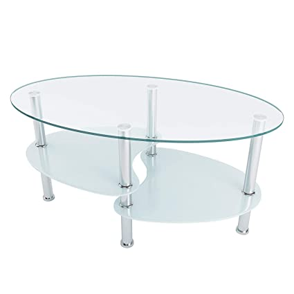 Amazon.com: Utheing 35\'\' Two Tiers Oval Glass Coffee Table ...