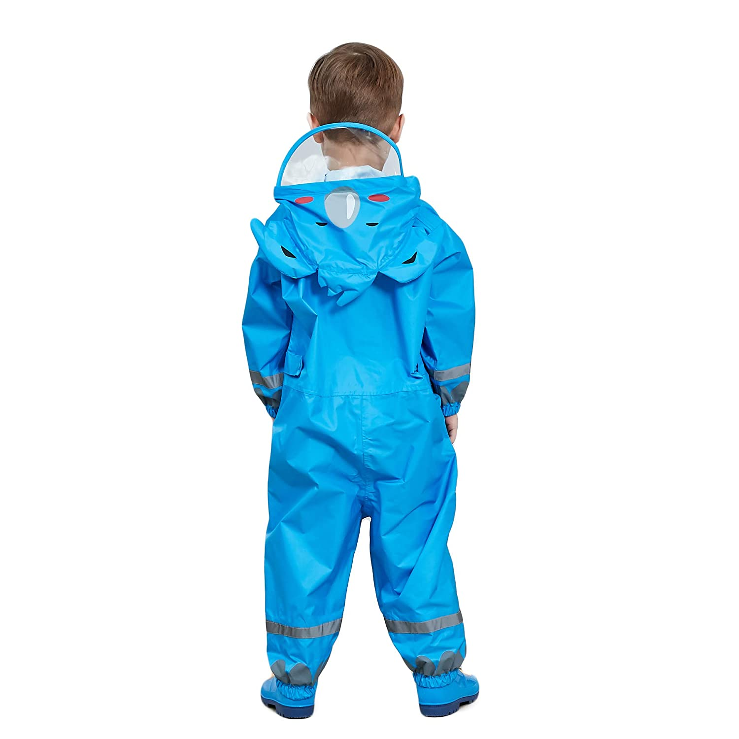 5cc7cbc90fca Bwiv 3D Cute Raincoat Kids Waterproof Breathable Rainsuit All in One Puddle  Suits Boys Girls Hooded Muddy Suit with Reflector Lightweight PVC ...